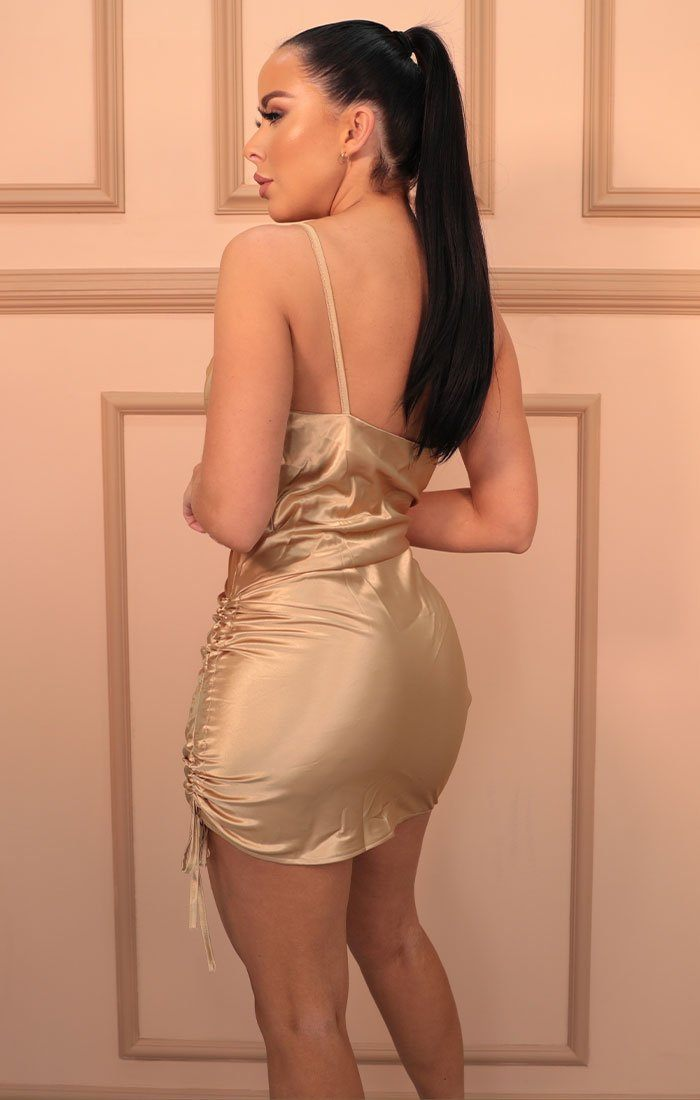 Gold Satin Ruched Side Slip Mini Dress - Maeve