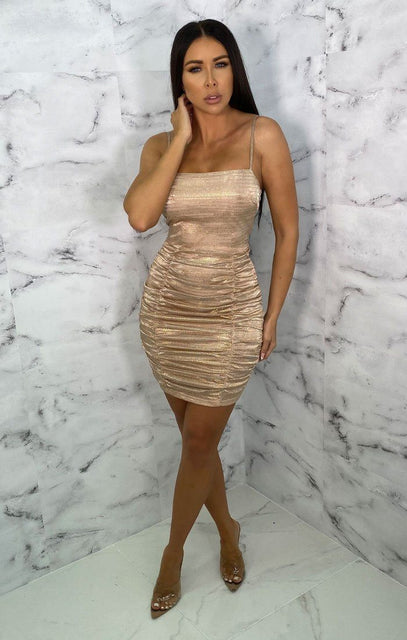 Gold Square Neck Ruched Bodycon Mini Dress - Charl