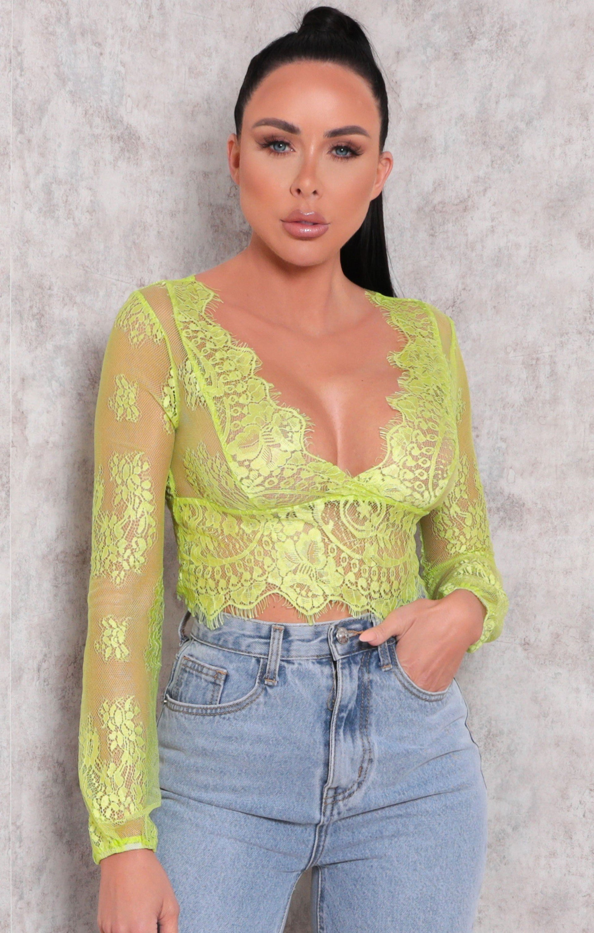 Green Lace Long Sleeve Plunge Crop Top - Lana