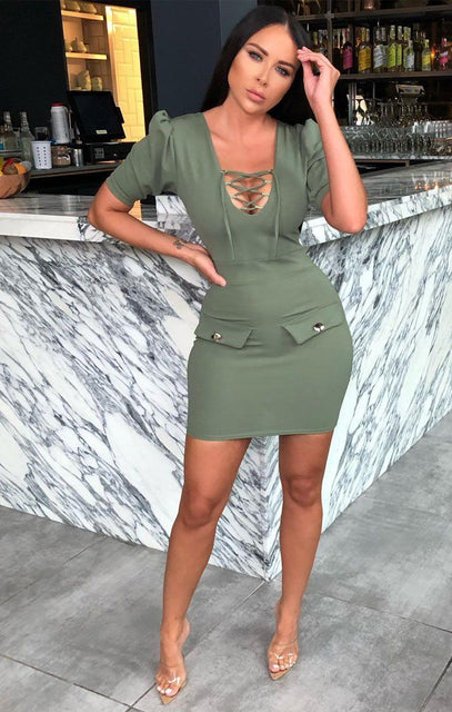 Green Lace Up Puff Sleeve Bodycon Dress - Zinnia