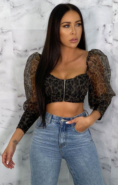 Green Leopard Print Puff Sleeves Corset Top - Logan