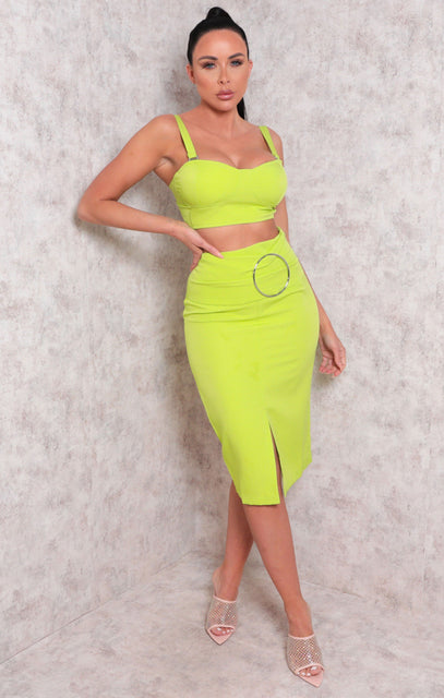 Green Padded Crop Top Split Midi Skirt Co-ord - Dala
