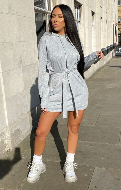 Grey Belted Long Line Hoodie Dress - Theo