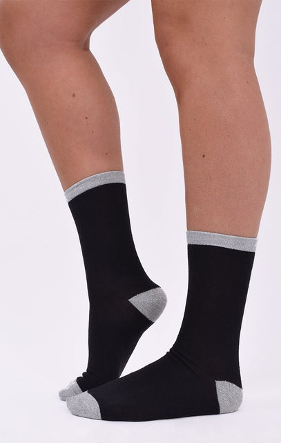 Grey & Black Glitter 2 Pack Socks - Tamzin