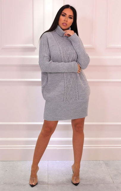 Grey Cable Knit Oversized Turtleneck Jumper Dress - Eike
