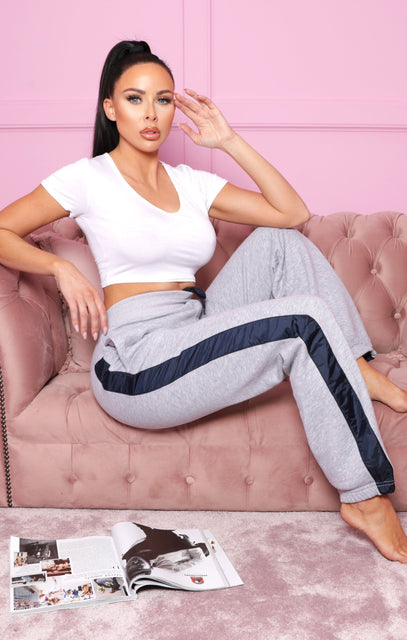 Grey Contrast Side Cuffed Joggers - Gia