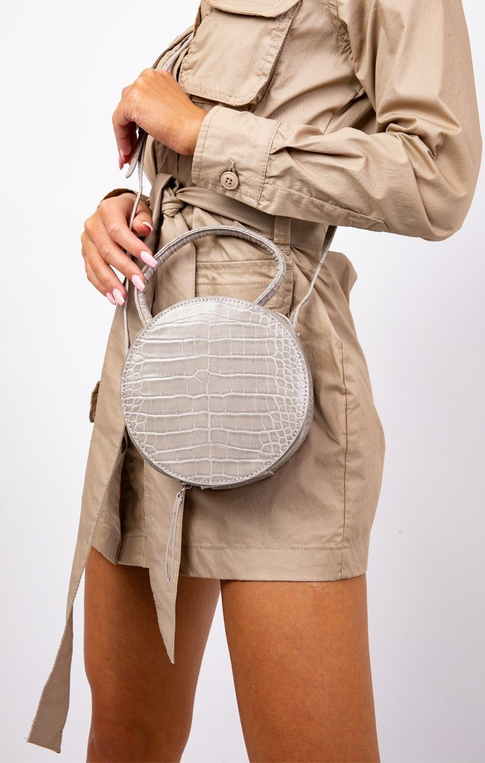Grey Croc Print Circular Shoulder Bag - Mads