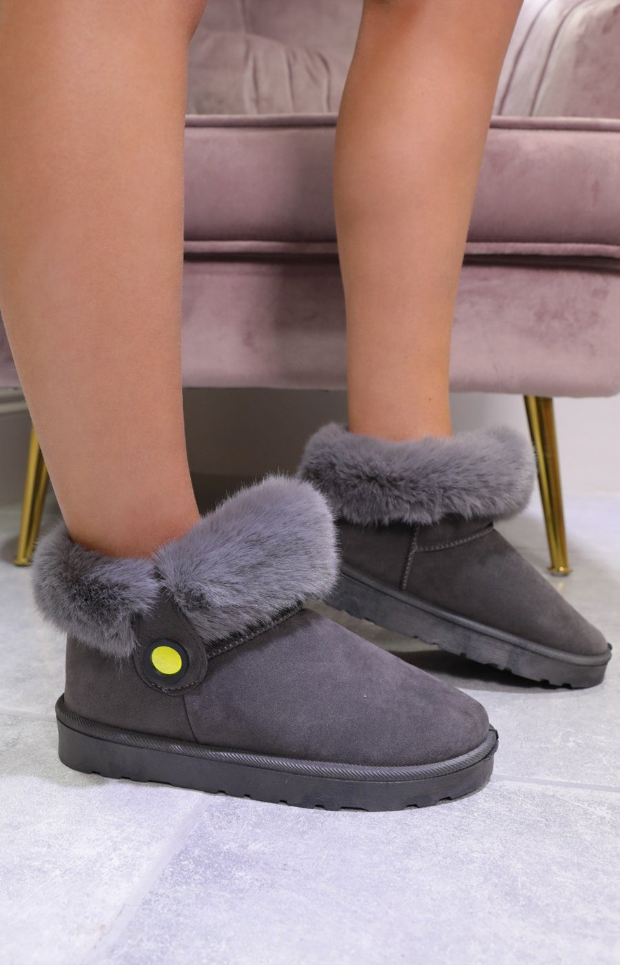 Grey Fluffy Faux Fur Ankle Boots - Milo
