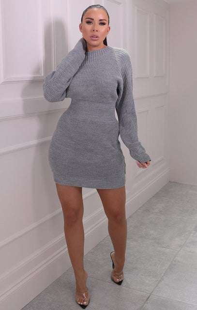 Grey Knitted Bat Wing Mini Jumper Dress - Lipton