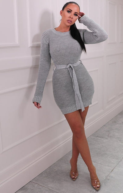 Grey Knitted Belted Mini Jumper Dress - Peach