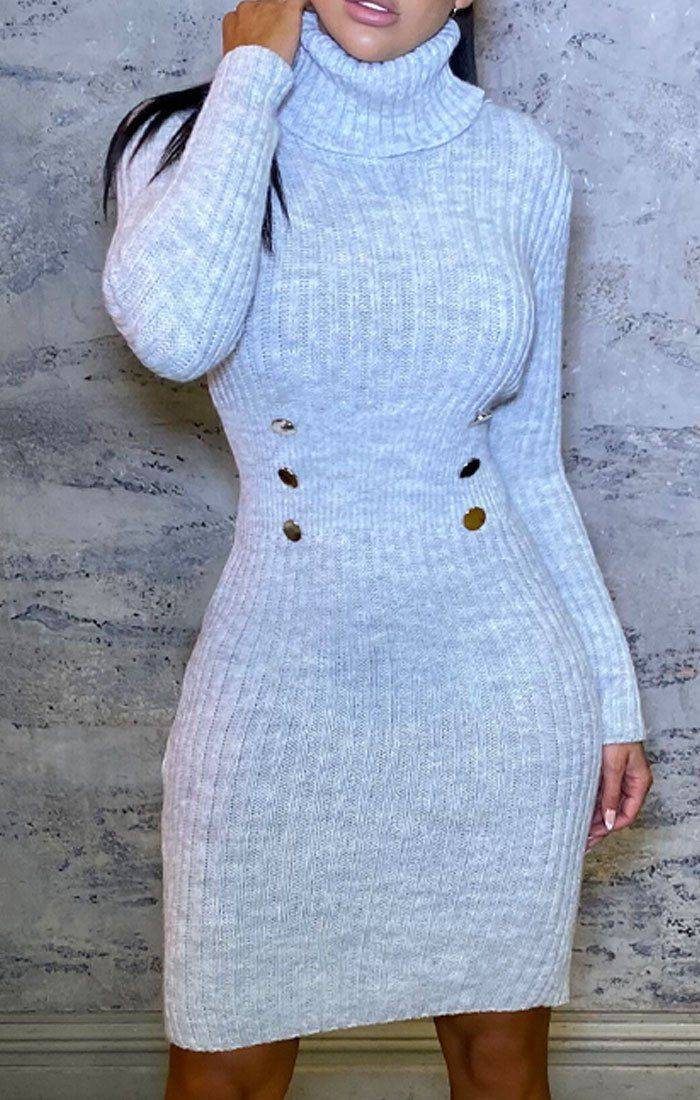 Grey Knitted Roll Neck Button Detail Midi Jumper Dress - Mindy
