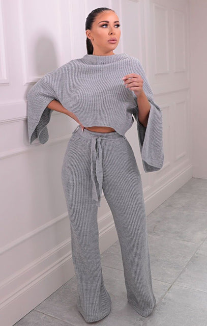 Grey Knitted Wide Leg Crop Jumper Loungewear Set - Joanna