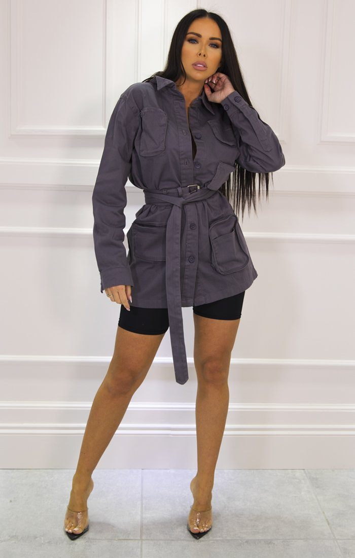 Grey Long Sleeve Belted Utility Cargo Jacket - Abril