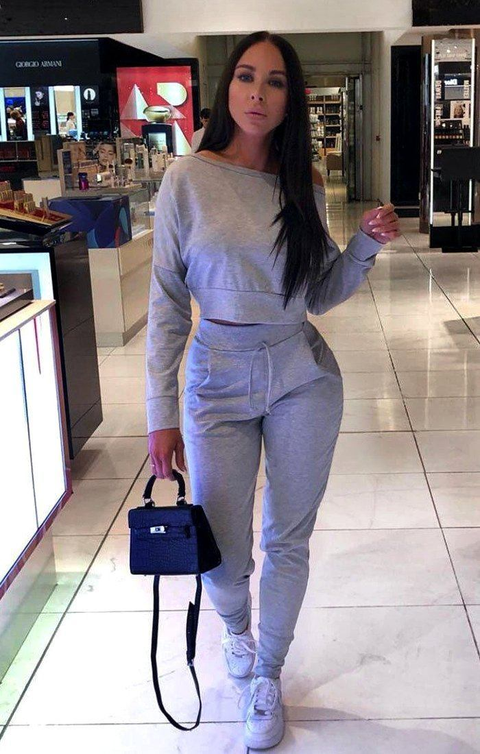 Grey Off Shoulder Loungewear Set - Blake