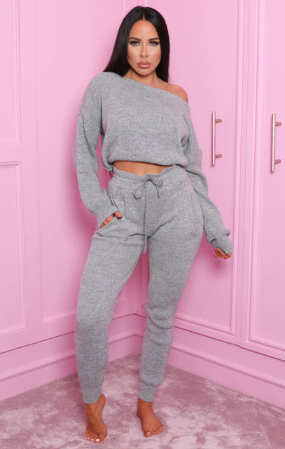 Grey Off The Shoulder Knitted Loungewear Set - Mina
