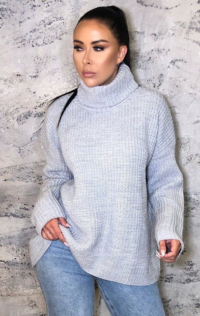 Grey Oversized Turtleneck Knit Jumper - Eliza