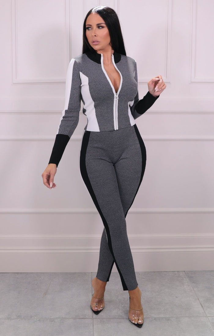Grey Premium Contrast Loungewear Set - Summer