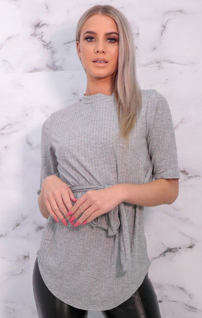 Grey Ribbed Belted Crew Neck Top - Conrad
