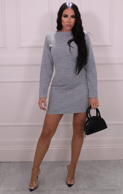 Grey Ribbed Knit Bodycon Dress - Tasha