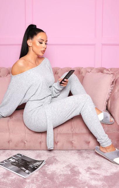 Grey Ribbed Off The Shoulder Loungewear Jumpsuit - Harlow