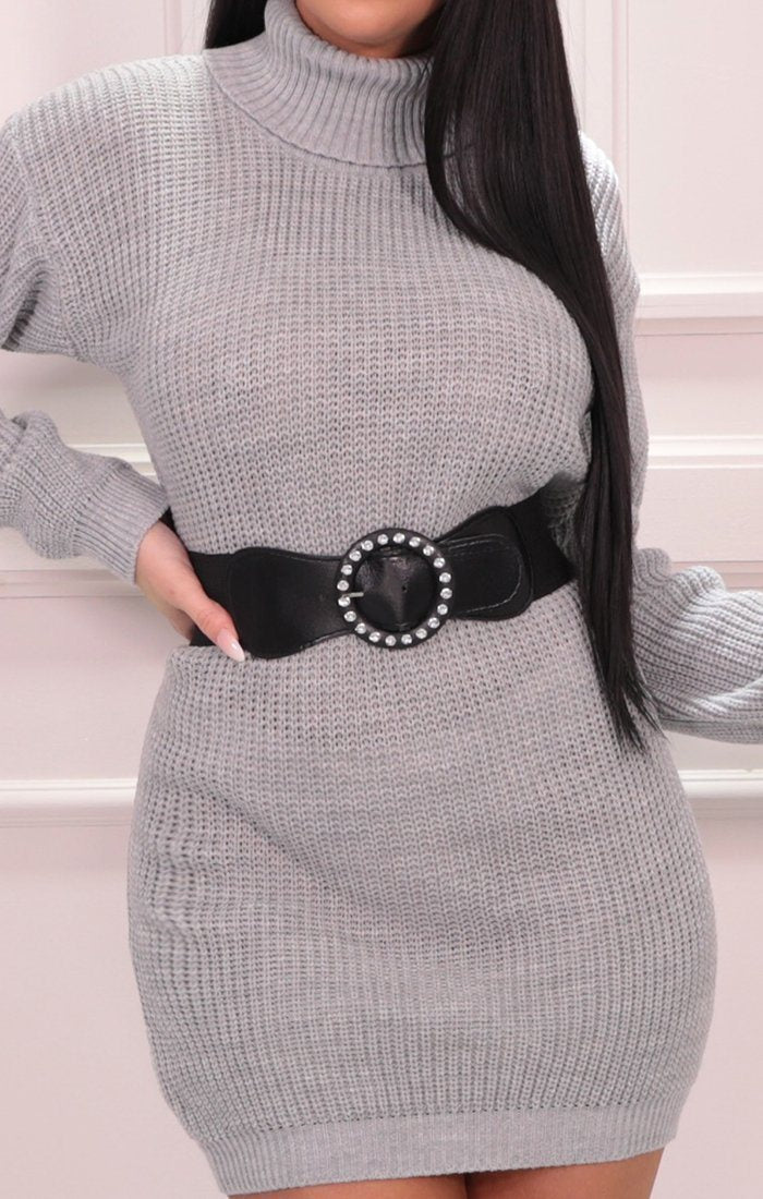 Grey Roll Neck Belted Jumper Dress - Nori