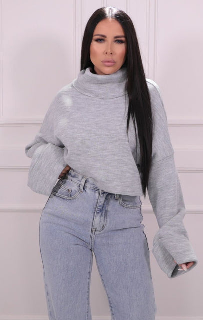 Grey Roll Neck Cropped Knitted Jumper - Alva