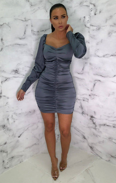 Grey Satin Long Sleeve Mini Dress - Eletra
