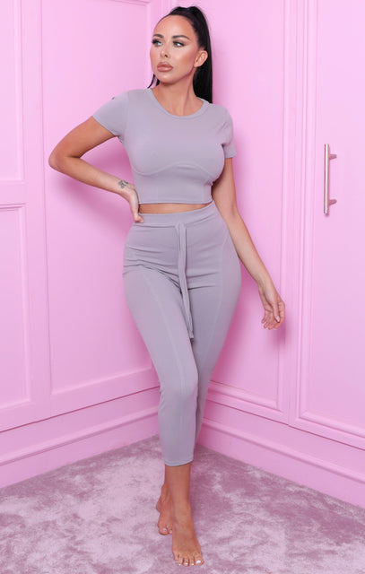 Grey Seam Detail Crop Top Co-ord - Bardia