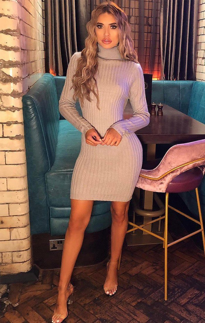 Grey Turtleneck Knitted Bodycon Jumper Dress - Cassidy