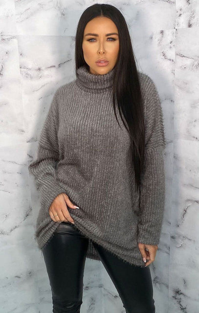 Grey Turtleneck Oversized Fluffy Long Line Jumper - Mary