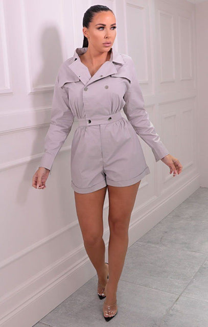 Grey Utility Collar Button Detail Playsuit - Imogen
