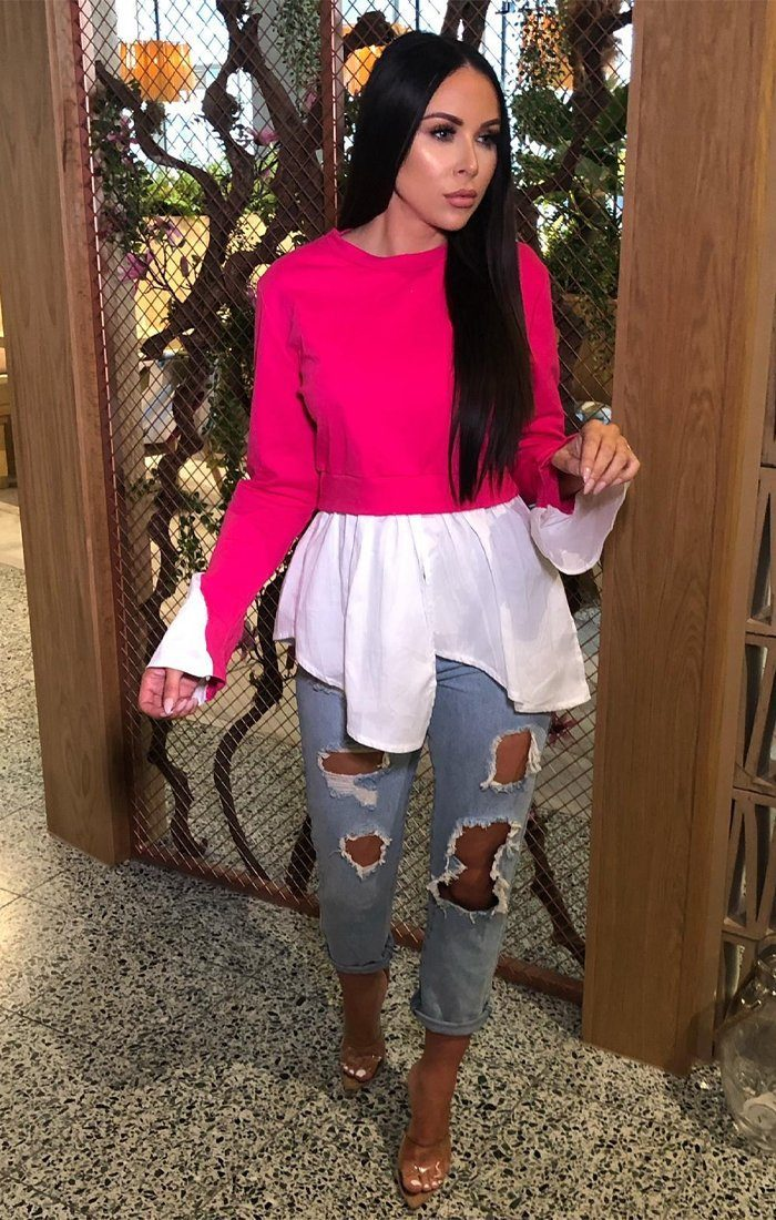 Hot Pink Layered Look Shirt Jumper - Ari