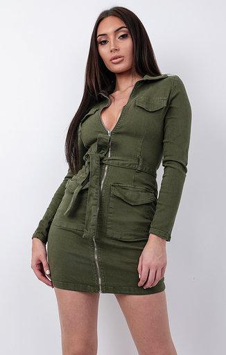 Khaki Denim Utility Bodycon Mini Dress - Jasmine