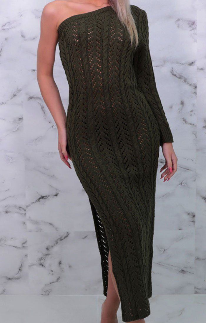 Khaki Knitted One Shoulder Sleeve Bodycon Maxi Dress - Lucky