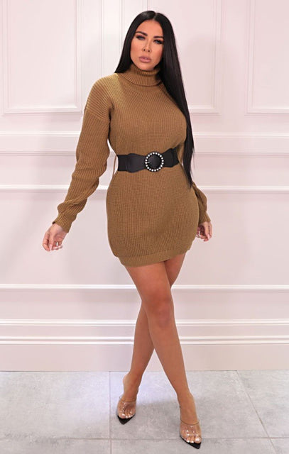 Khaki Roll Neck Belted Jumper Dress - Nori