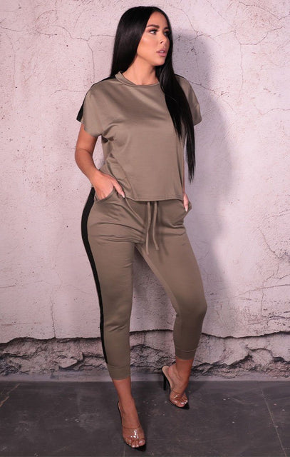 Khaki Stripe Boxy Top Loungewear Two Piece Set - Ashley
