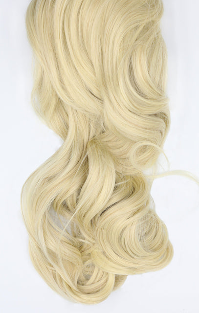 "Light Blonde 20"" Synthetic Drawstring And Clip Curly Ponytail - Naomi"
