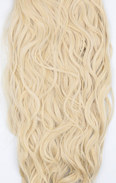 "Light Blonde Thick 20"" Synthetic Clip In Wavy Hair Extensions Set - Loren"