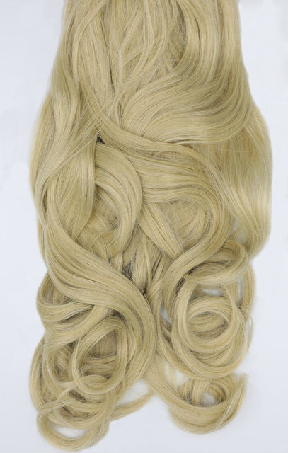 "Light Golden Blonde 20"" Synthetic Curly Hair Extensions Clip In Piece - Dion"