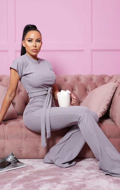 Light Grey Ribbed Belted Co-Ord - Alannah