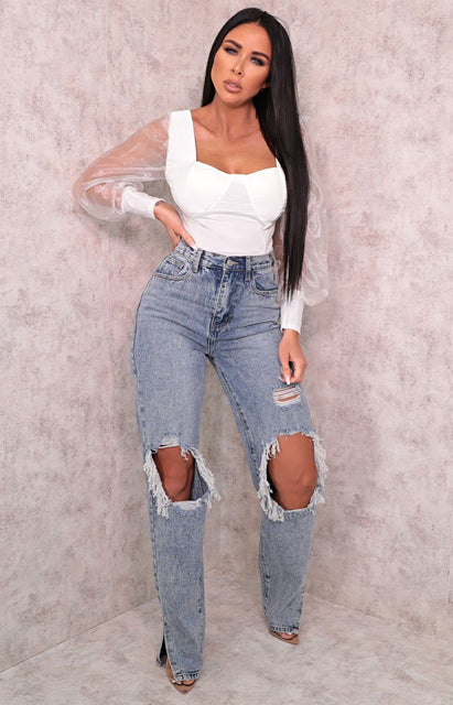 Light Wash Ripped Distressed Side Split Straight Leg Jeans - Molly