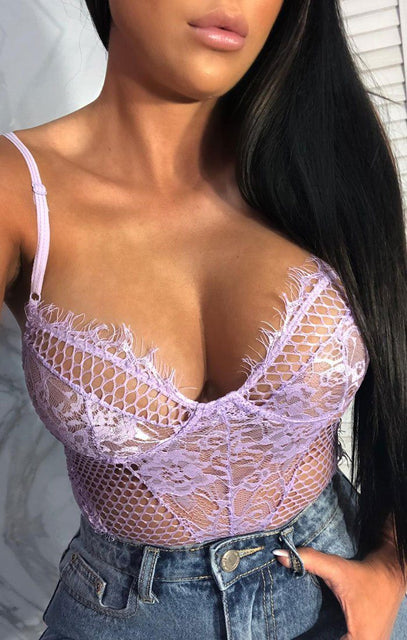 Lilac Fishnet Distressed Bodysuit - Hayden