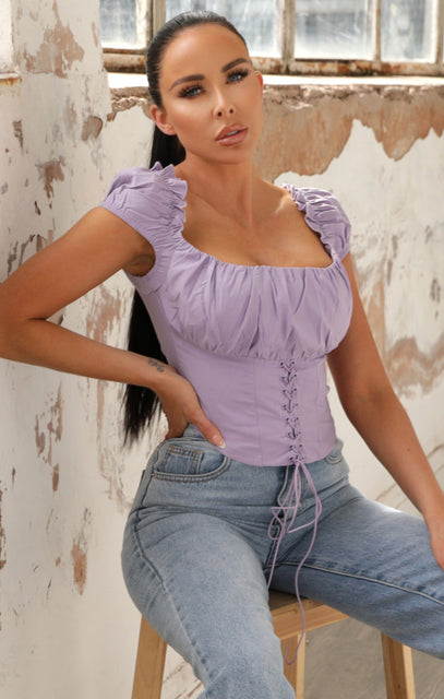 Lilac Puff Sleeve Milkmaid Top - Rosa