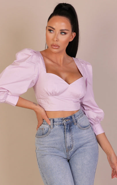 Lilac Puff Sleeve Plunge Crop Top - Shon