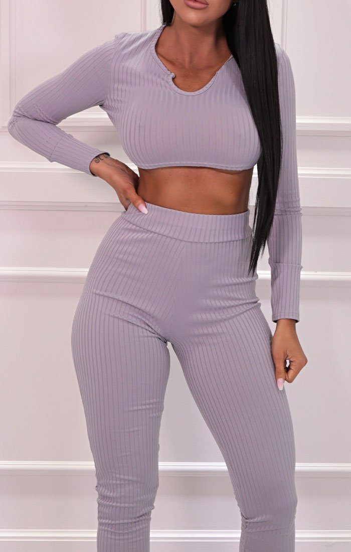 Lilac Ribbed Cropped Skinny Leg Loungewear Set - Mila