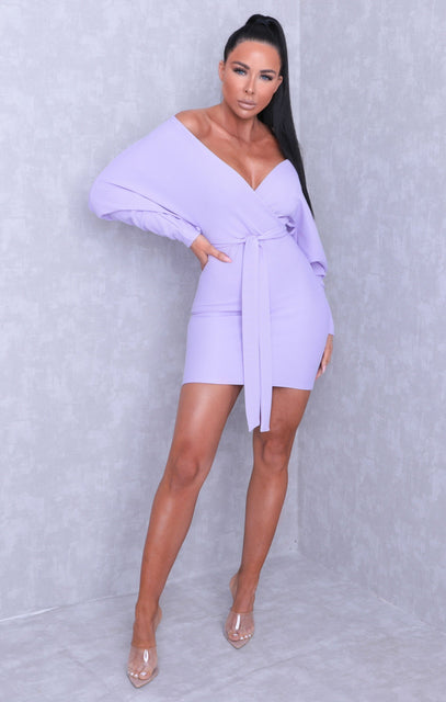 Lilac Ribbed Wrap Bat Wing Bodycon Mini Dress - Bailey