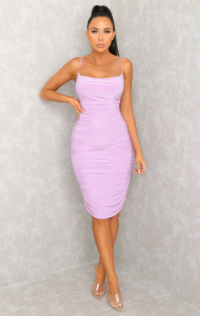 Lilac Ruched Midi Bodycon Dress - Taylor