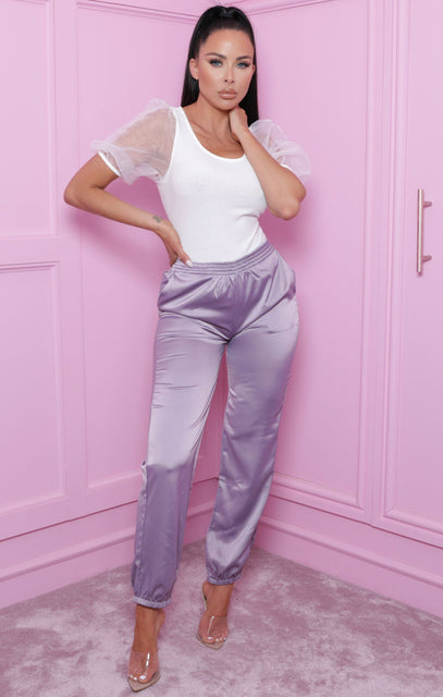 Lilac Satin Cuffed High Waisted Joggers - Emmerline