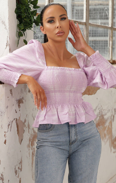 Lilac Shirred Waist Puff Sleeve Top - Britney