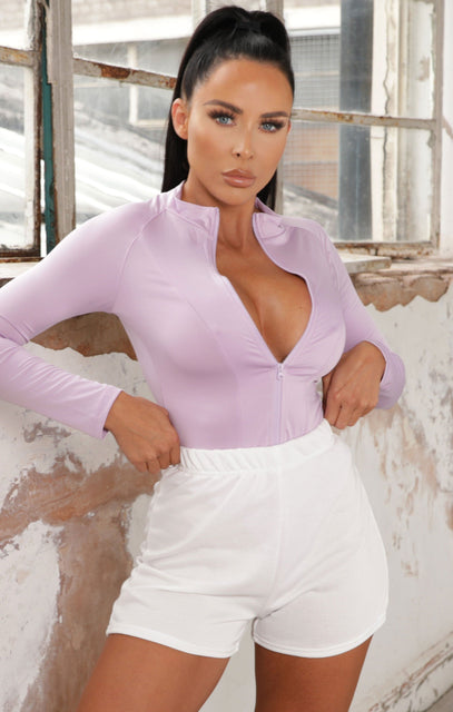 Lilac Zip Up Long Sleeve Bodysuit - Zeta
